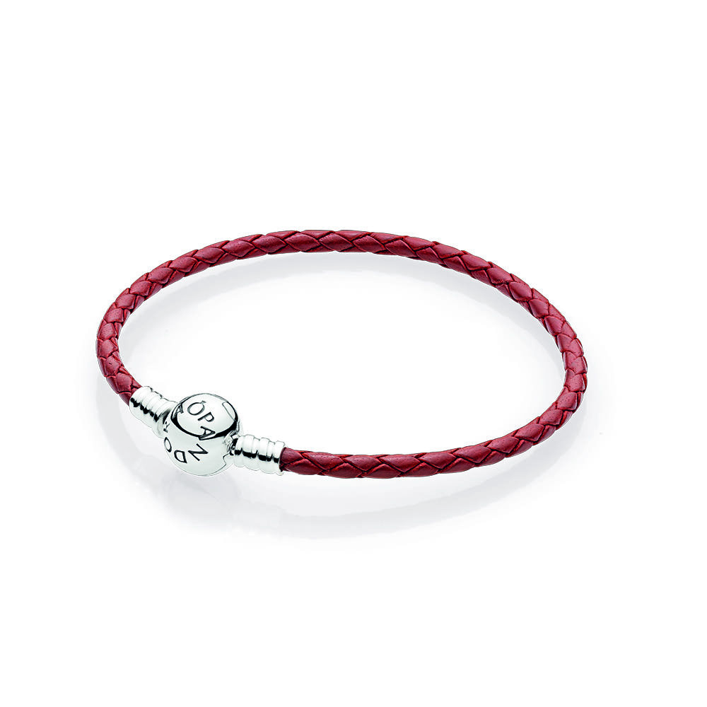 pandora bracelet leather red