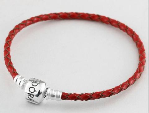 pandora bracelet leather red
