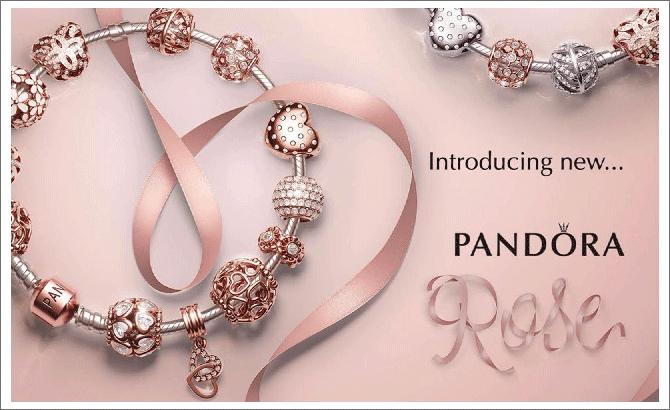 bijoux pandora or rose